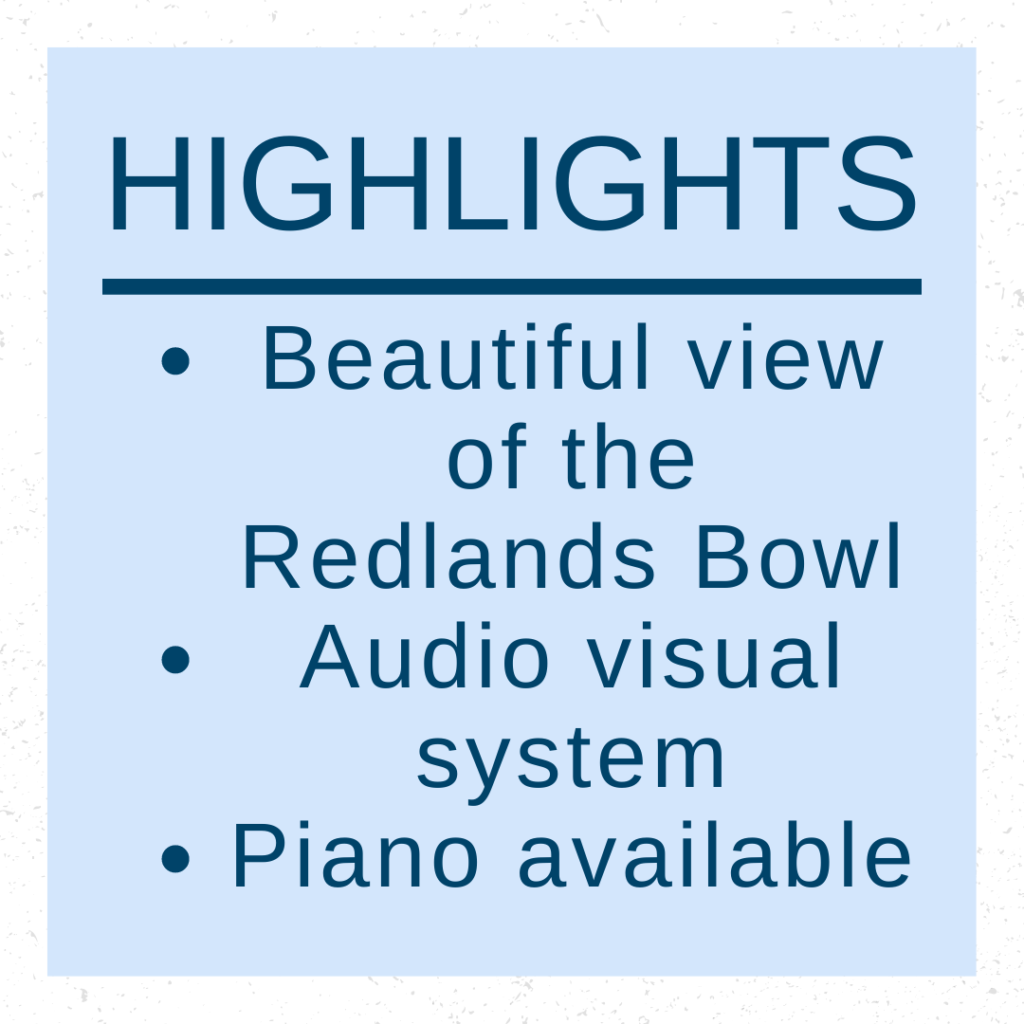 Dangermond Hall at the Mission Gables House has a beautiful view of the Redlands Bowl. Special for any occasion,