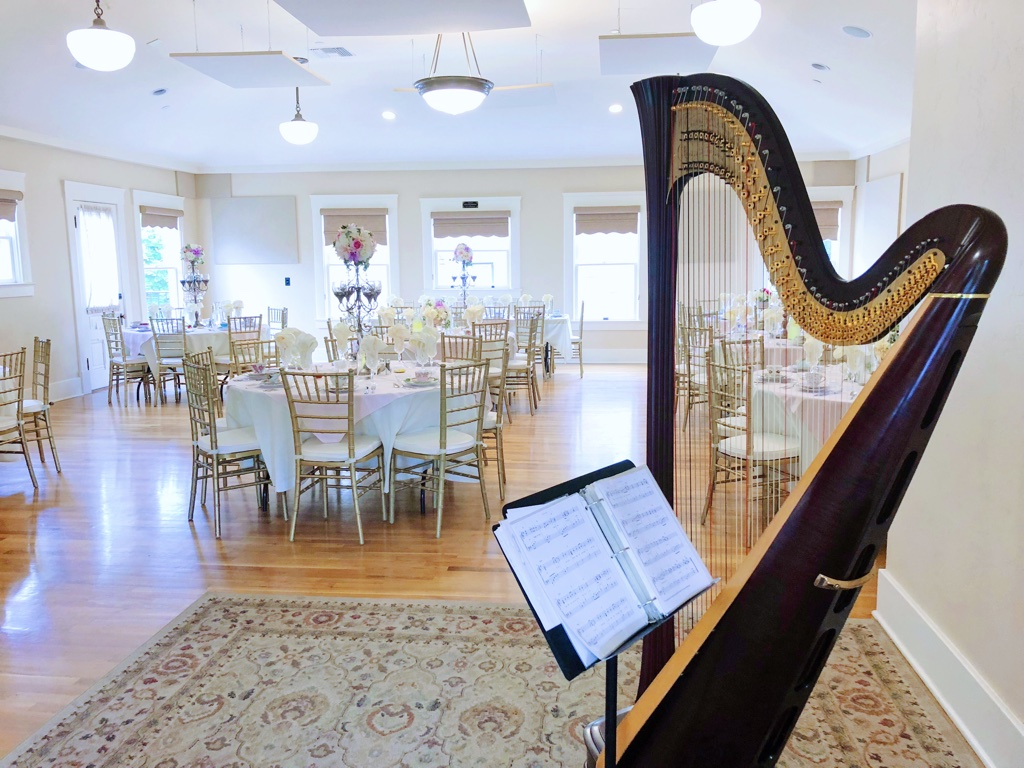 Dangermond Hall at the Mission Gables House with harp