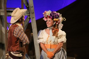 "Oklahoma! Jonathan Blair as ""Will Parker"" and Coco McKown as ""Ado Annie Carnes"""